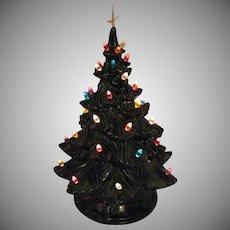 Vintage Atlantic Mold Ceramic Christmas Tree Faux Plastic Lights Lighted Base Good Condition