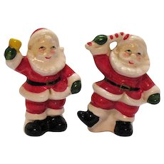 Vintage set of Ceramic Santa S&P Shakers 1950s