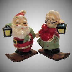 Vintage Ceramic Mr. & Mrs. Santa Claus on Skis S&P Set 1950-60s