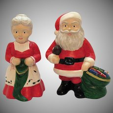 Vintage Santa & Mrs. Claus Stone Resin Figurines 1960-70s Good Condition