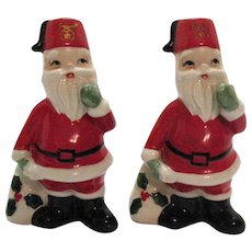 Vintage Ceramic Masonic Santas S&P Shakers 1960s