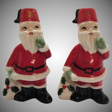 Vintage Ceramic Masonic Santas S&P Shakers 1960s