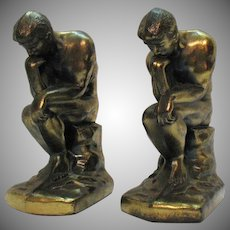 Vintage Rodin's Thinker Metal Bookends 1928 Good Condition