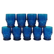 Vintage 9 Viking Cobalt Blue 8 Oz. Flat Tumblers Georgian Pattern 1944-70s Good Condition