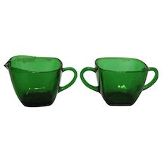 Vintage Anchor Hocking Fire King Forest Green Sugar & Creamer Charm Pattern 1950-54 Good Condition