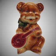 Vintage Royal Copley Ceramic Bear Planter Playing Mandolin 1940-50s Good Condition
