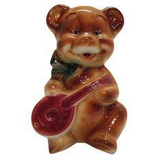 Vintage Royal Copley Ceramic Bear Planter Playing Mandolin 1940-50s Good Condition