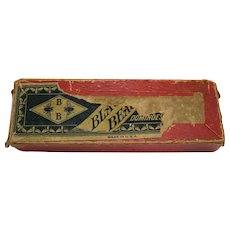 Vintage Wood Black Bees Dominoes Original Box 1920-30s
