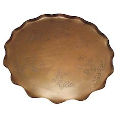 Vintage Large Copper Tray Etched Designs Raised Edge 1950-60s Good Vintage Condition