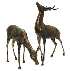 Vintage Brass Deer Set 1950s Korea Mfg. Good Condition