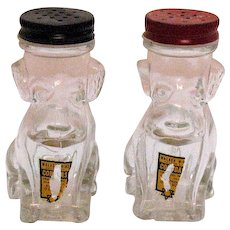 Vintage Glass Dog S&P Shakers/Wine Samples 1947-1950s Good Condition