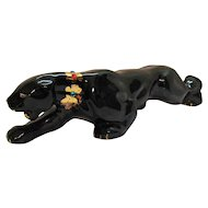 Vintage Ceramic Black Panther Figurine with Gold Paint & Rhinestones 1940-50s Good Condition