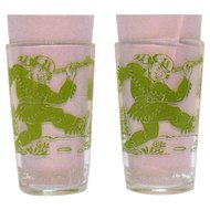 Two Vintage Davy Crockett Glass tumblers 1950s Good Condition