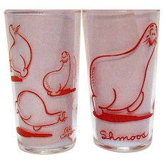 Two Shmoos 1949 Glass Tumblers Lil Abner Comic Strip Characters by Al Capp Good Condition