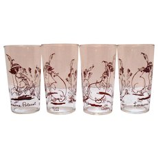 Four Vintage Lonesome Polecat Glass Tumblers From Lil Abner Comic Strip 1949 by Al Capp Good Condition
