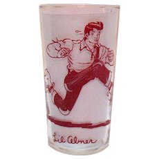 Vintage Lil Abner Glass Tumbler Comic Strip Character by Al Capp 1949 Good Condition
