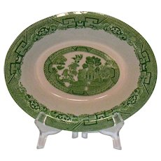 Vintage Green Willow Transferware Pattern Vegetable Bowl John Steventon & Sons Ltd. Of England 1923-36
