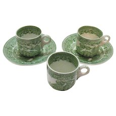 Vintage Green Willow Transferware on 3 Demitasse Cups 2 Saucers by John Steventon & Sons Ltd. Of England 1923-36