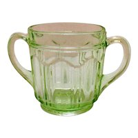 Vintage Anchor Hocking Green Depression Glass Sugar Bowl Colonial Pattern Knife & Fork 1934-36