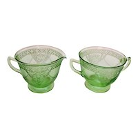 Vintage Federal Green Depression Glass Sugar & Cremer Georgian Love birds Pattern 1931-36  Good Condition