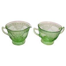 Vintage Federal Green Depression Glass Sugar & Cremer Georgian Love birds Pattern 1931-36  Good Condition