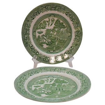 Vintage 2 Green Willow Transferware Dinner Plates 1923-36 John Steventon & Sons Ltd. Of England Good Condition