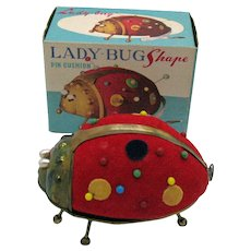 Five Vintage 1960s Lady-Bug Shaped Pin Cushion with Tape Original box Good Vintage Condition