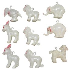 Vintage Glow in the Dark Plastic Animal Christmas Tree Ornaments Good Vintage Condition 1950s