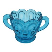 Vintage  L.E. Smith Moon & Star Blue Sugar Bowl 1950-60s Good Condition