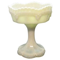 Vintage Custard/Opal Glass Compote Greek Key Border Beaded Swag Rim Early 1900s Good Condition