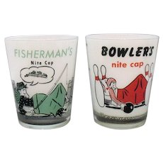 Two Novelty Shot Glasses For Bowler & Fisherman 1950-60s Good Condition