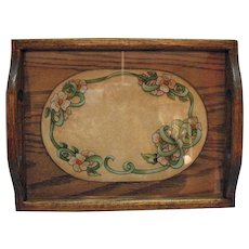 Vintage Reverse Painted Tray 1980s  by Susie Kostka Good Condition