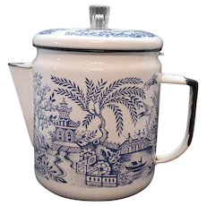 Vintage Enamelware Coffee Pot Blue Willow Transferware 1940-50s Good Useable Condition