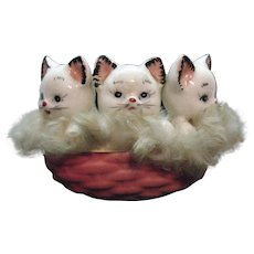 Vintage Ceramic Basket with Three Kittens California Creations by Bradley 1950s
