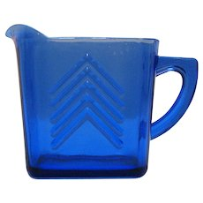 Vintage Hazel Atlas Cobalt Blue Depression Glass Creamer Chevron Pattern 1930-50s Good Condition