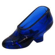 Vintage Cobalt Blue Glass Shoe 1930-50s Good Condition