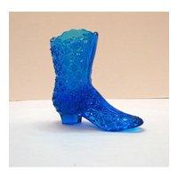 Vintage Blue Glass Shoe Button & Bows Pattern L.G. Wright 1960-70s Good Condition