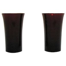 Two Vintage Anchor Hocking Ruby Red Whiskey Glasses 1940-50s Good Condition