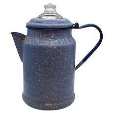 Vintage Speckled Enamelware Coffee Pot 1930-50s Vintage Condition
