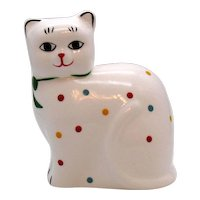 Vintage Ceramic Cat Bank 1970-80s having polka dots and is still in good condition