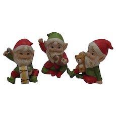 Vintage 2 Homco Bisque Christmas Elf Figurines 1970s Good Condition