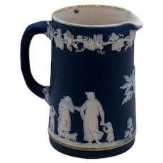 Antique Wedgwood Jasper Ware Creamer Wedgwood Dark Blue 1891-1902 Good Vintage Condition