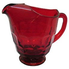 Vintage Viking Ruby Red Pitcher Georgian Pattern 1940-98 Good Condition