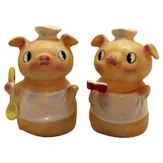 Vintage Pig Chefs S&P Shakers by M-G Inc. of Japan 1960 Good Condition