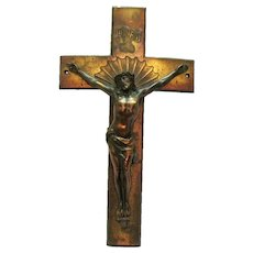 Vintage Metal Crucifix 1930-50s Copper Wash Vintage Condition