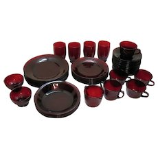 Vintage Anchor Hocking 48 pcs. Royal Ruby Tableware 1938-60s/1977 Vintage Condition