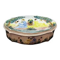 Vintage Ceramic Italian Dresser Box Embossed & Hand Painted 1930s or 50s Good Condition