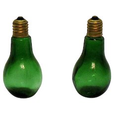 Vintage Green Glass S&Ps in Shape of Light Bulbs 1950s Good Condition