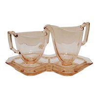 Vintage Fostoria Pink Colored Sugar Creamer & Tray Mayfair Pattern 1930-42 Good Condition