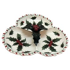 Vintage Lefton 3 Compartment Dish 1950s Holly Candy Cane Edge Vintage Condition